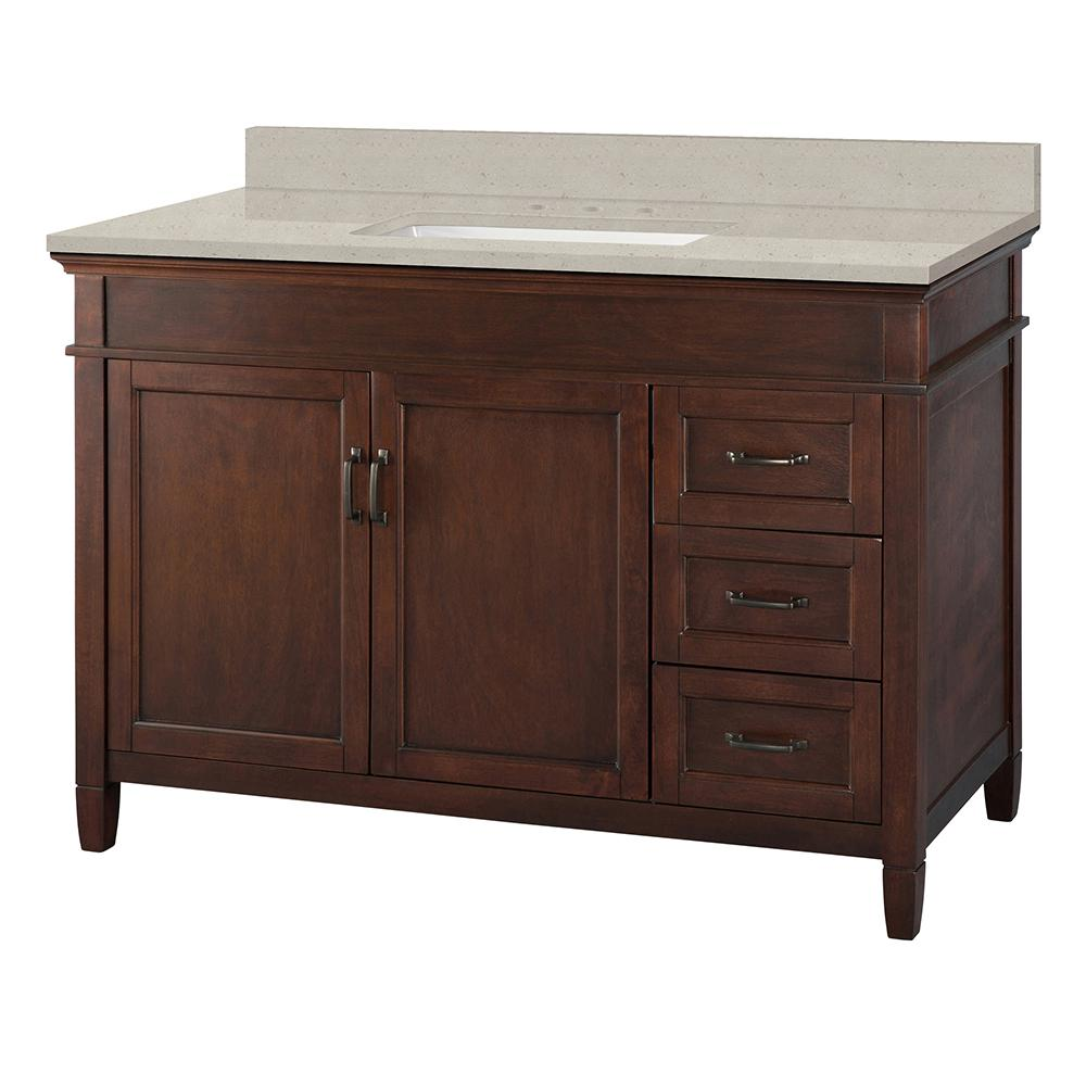 Home Decorators Collection Ashburn 49 in. W x 22 in. D Vanity Cabinet in Mahogany with Engineered Quartz Vanity Top in Stoneybrook with White Sink