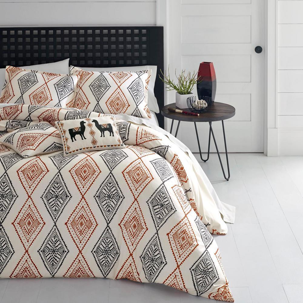 Cusco Rhombus 3-Piece Gray/Beige Geometric Full/Queen Duvet Cover Set