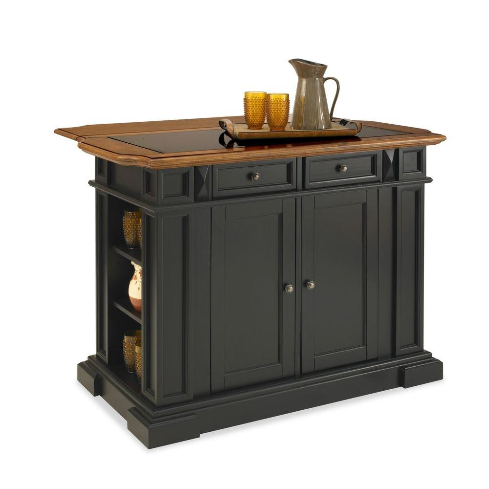 Home Styles Deluxe Traditions Kitchen Island in Black with Oak Top and Black Granite Inlay-DISCONTINUED