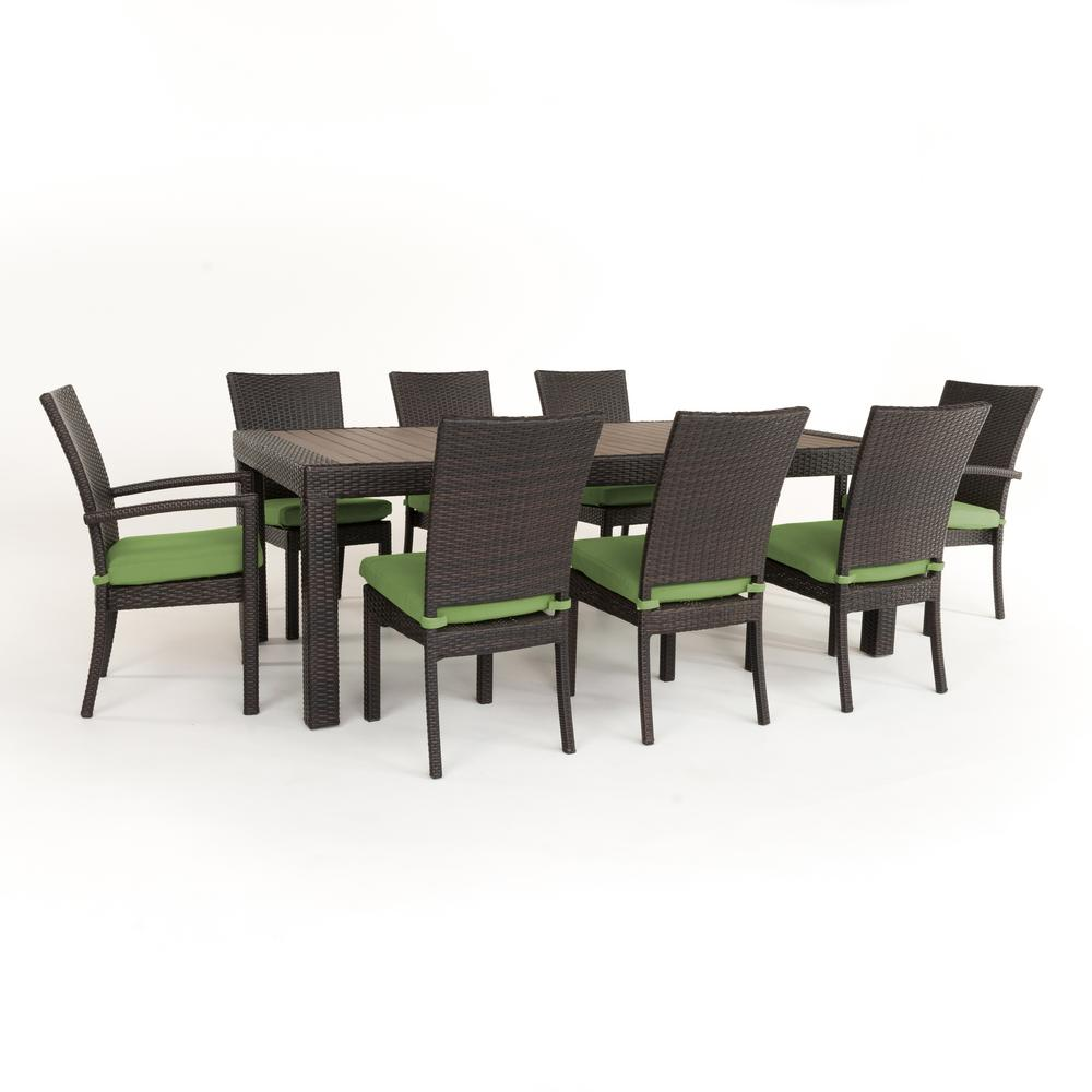 RST Brands Deco 9 Piece Patio Dining Set With Ginkgo Green Cushions