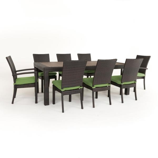 Rst Brands Deco 9 Piece Patio Dining Set With Ginkgo Green Cushions Op Pets9 Dec Gnk K The Home Depot