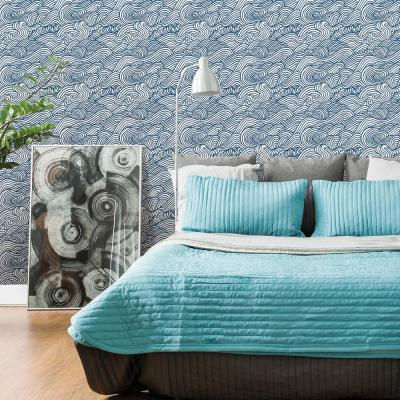 56.4 sq. ft. Mare Navy Wave Wallpaper