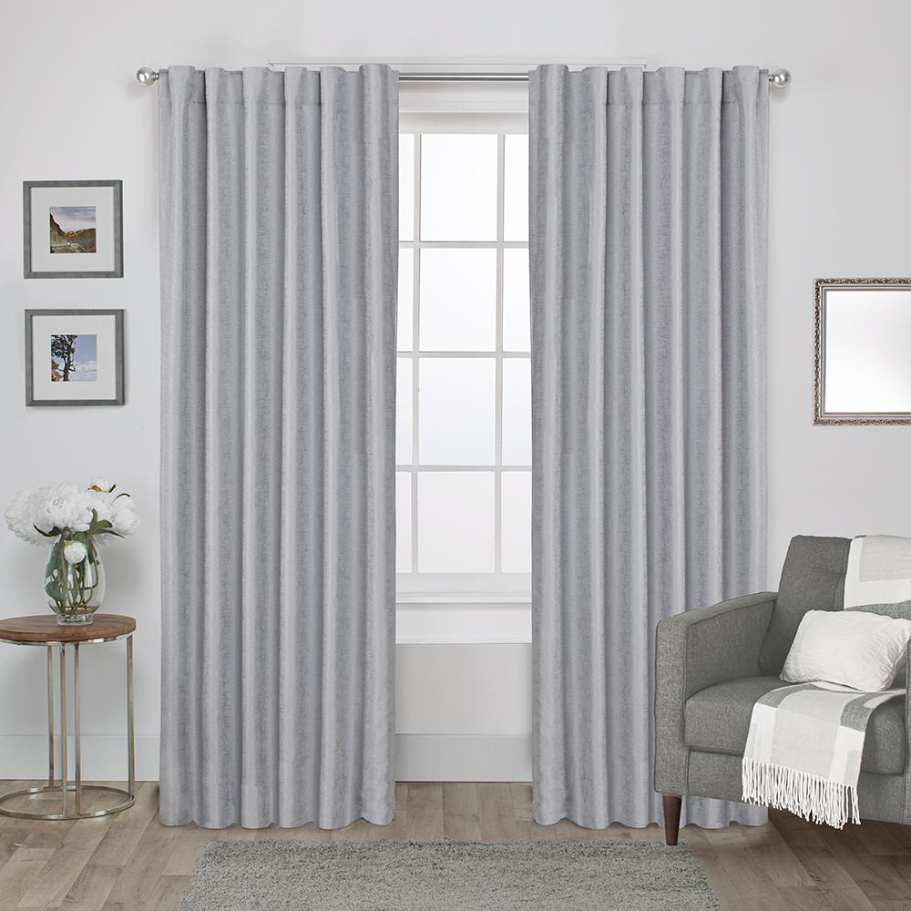 Zeus 52 In W X 84 L Woven Blackout Hidden Tab Top Curtain Panel Dove Grey 2 Panels Eh8228 02 84h The Home Depot