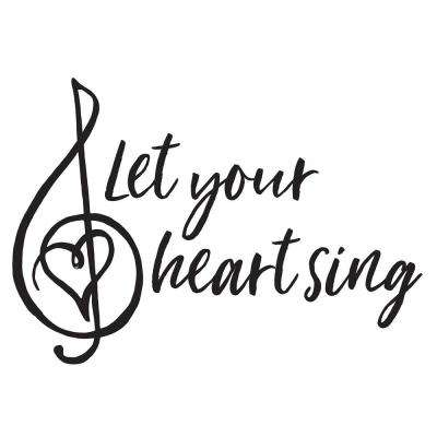 Black Heart Sing Decal Wall Quote