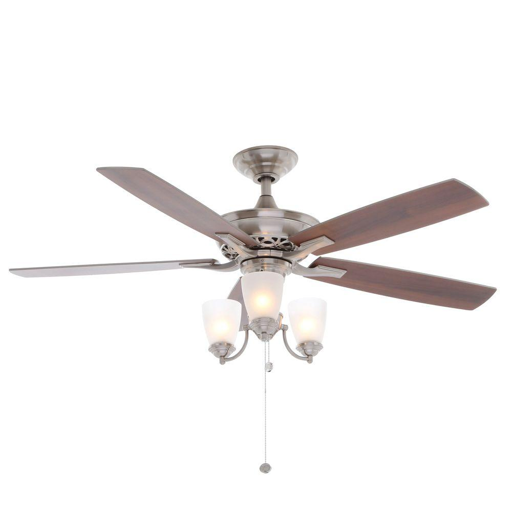 Hampton Bay Havenville 52 In Indoor Brushed Nickel Ceiling Fan With Light Kit