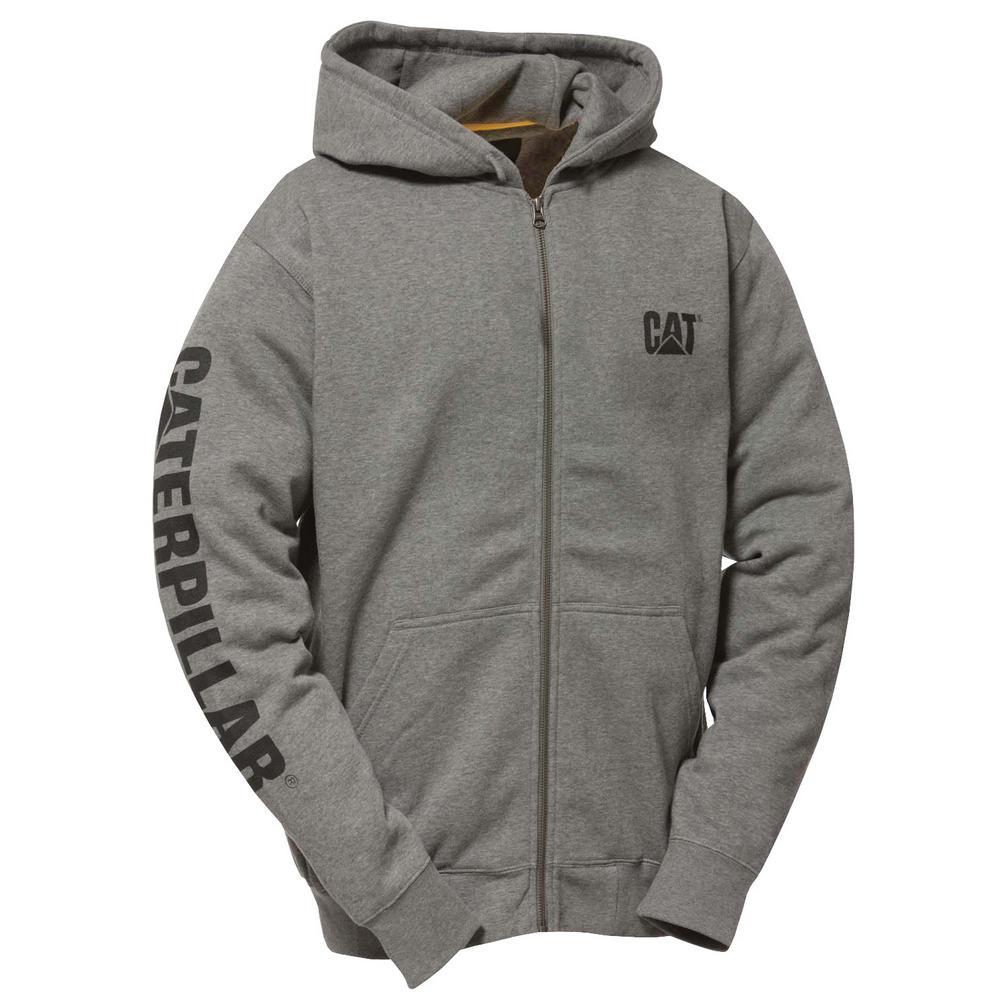 Trademark Banner Men's Small Dark Heather Grey Cotton/Polyester Full Zip Hooded Sweatshirt