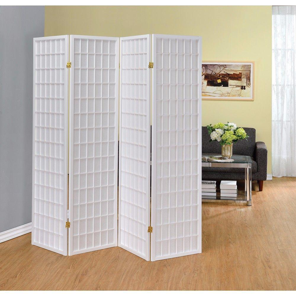 Benjara Contemporary Style 5 8 Ft White 4 Panel Folding Room Divider Screen Bm160124 The Home Depot