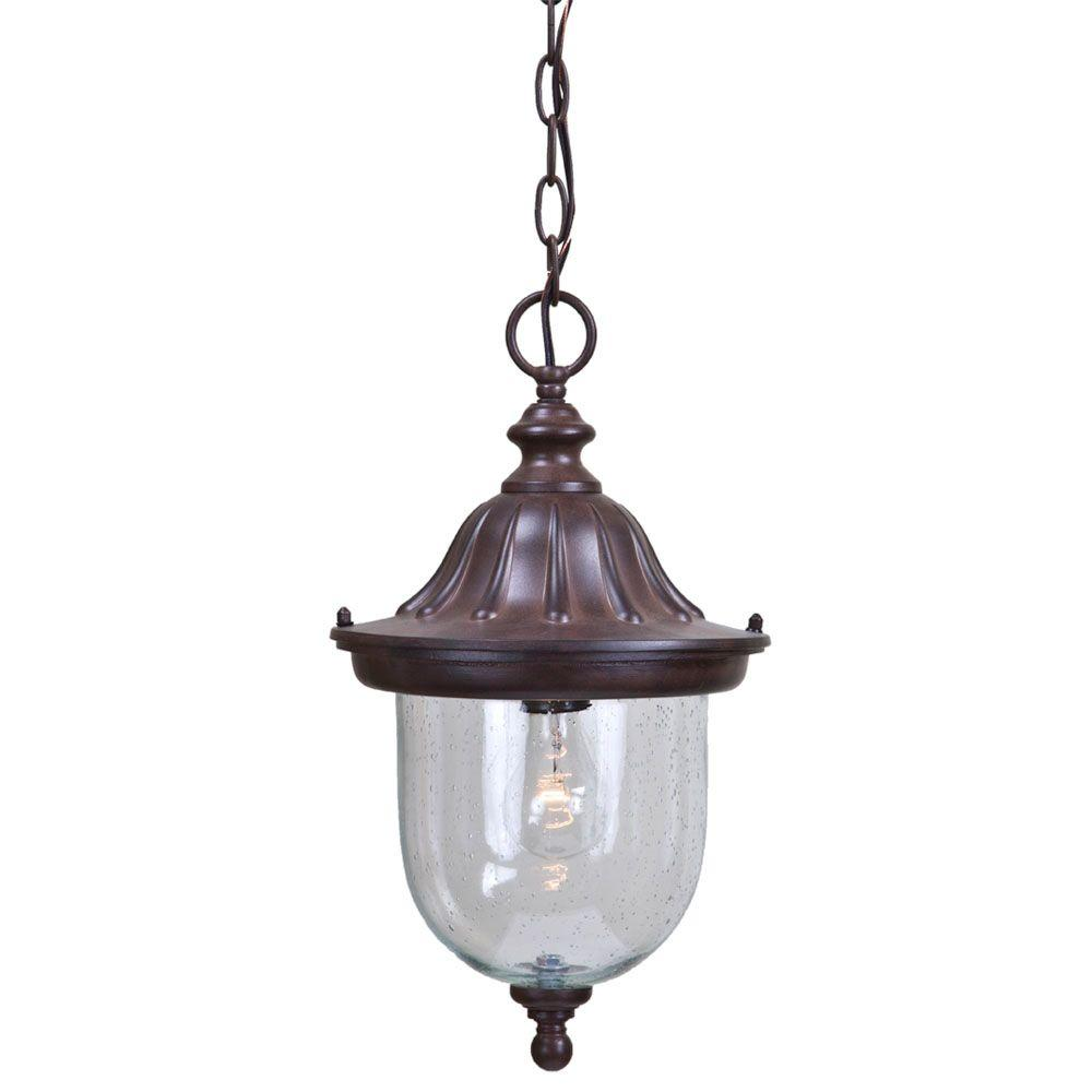 Builder's Choice Collection 1-Light Burled Walnut Outdoor Hanging Light Fixture