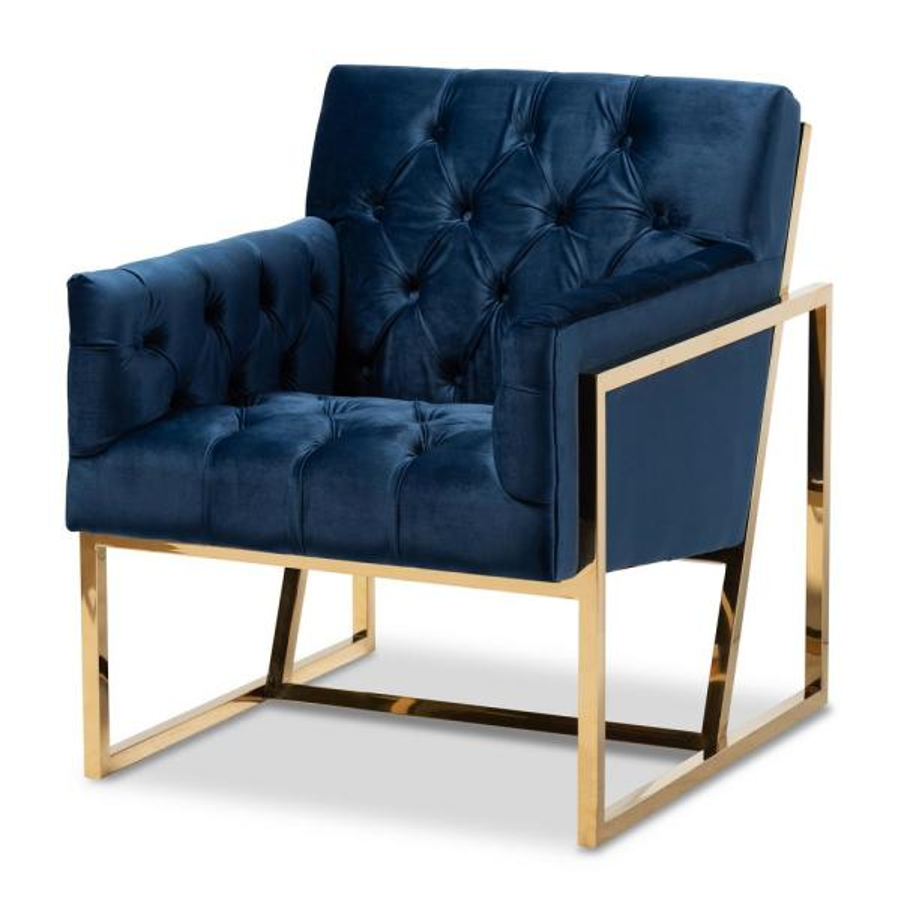 Baxton Studio Milano Navy Velvet Lounge Chair 151-9263-HD