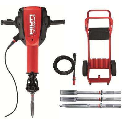 15 Amp 120 Volt 1-1/8 in. TE 3000-AVR Polygon Demolition Jack Hammer Concrete Breaker Kit with Trolley, Cord and Chisels