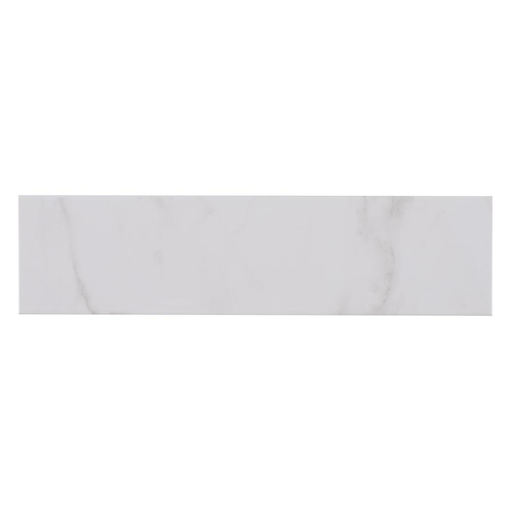Classique White Carrara Mixed Glossy 4 in. x 16 in. Glazed