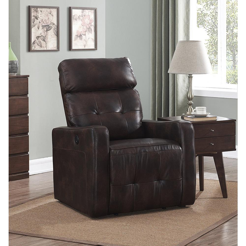 Elsa Collection Brown Contemporary Leather Tufted Upholstered Living Room