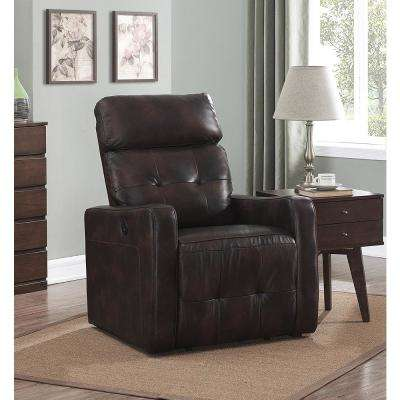 Elsa Collection Brown Contemporary Leather Tufted Upholstered Living Room Electric Recliner Power Chair