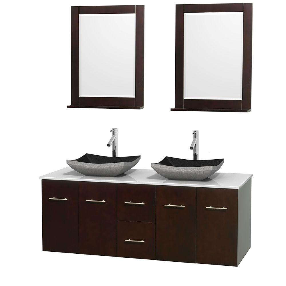 Wyndham Collection Centra 60 in. Double Vanity in Espresso with Solid-Surface Vanity Top in White, Black Granite Sinks and 24 in. Mirror