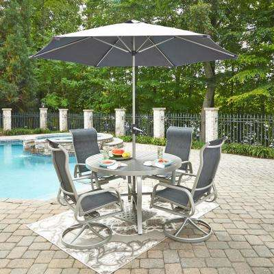 South Beach Gray Swivel Rocking Aluminum Sling Outdoor Dining Chair