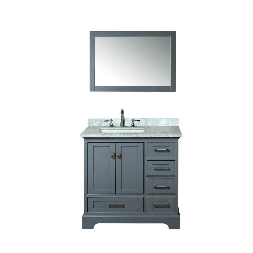 Stufurhome Newport 36 In W X 22 In D Vanity In Gray With Marble Vanity Top In Carrara White