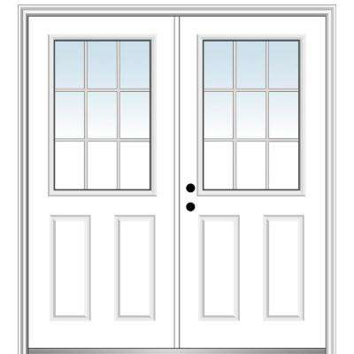 72 in. x 80 in. White Internal Grilles Right-Hand Inswing 1/2-Lite Clear Glass 2-Panel Primed Steel Prehung Front Door