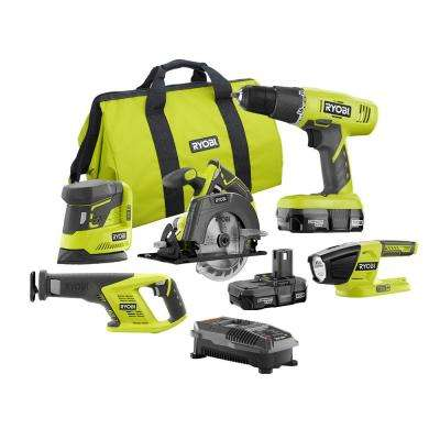 18-Volt ONE+ Lithium-Ion Cordless Drill, Circ Saw, Recip Saw, Sander, and Light 5-Tool Combo,(2) 1.3Ah Batts,Charger,Bag