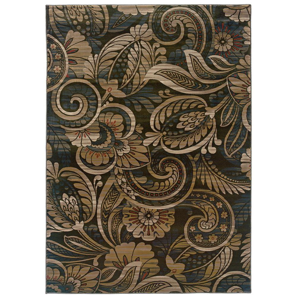LR Resources Hints of Sage Floral Play 9 ft. x 12 ft. 2 in. Plush Indoor Area Rug