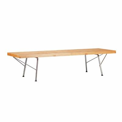 Slat 5 ft. Natural Bench with Chrome Legs