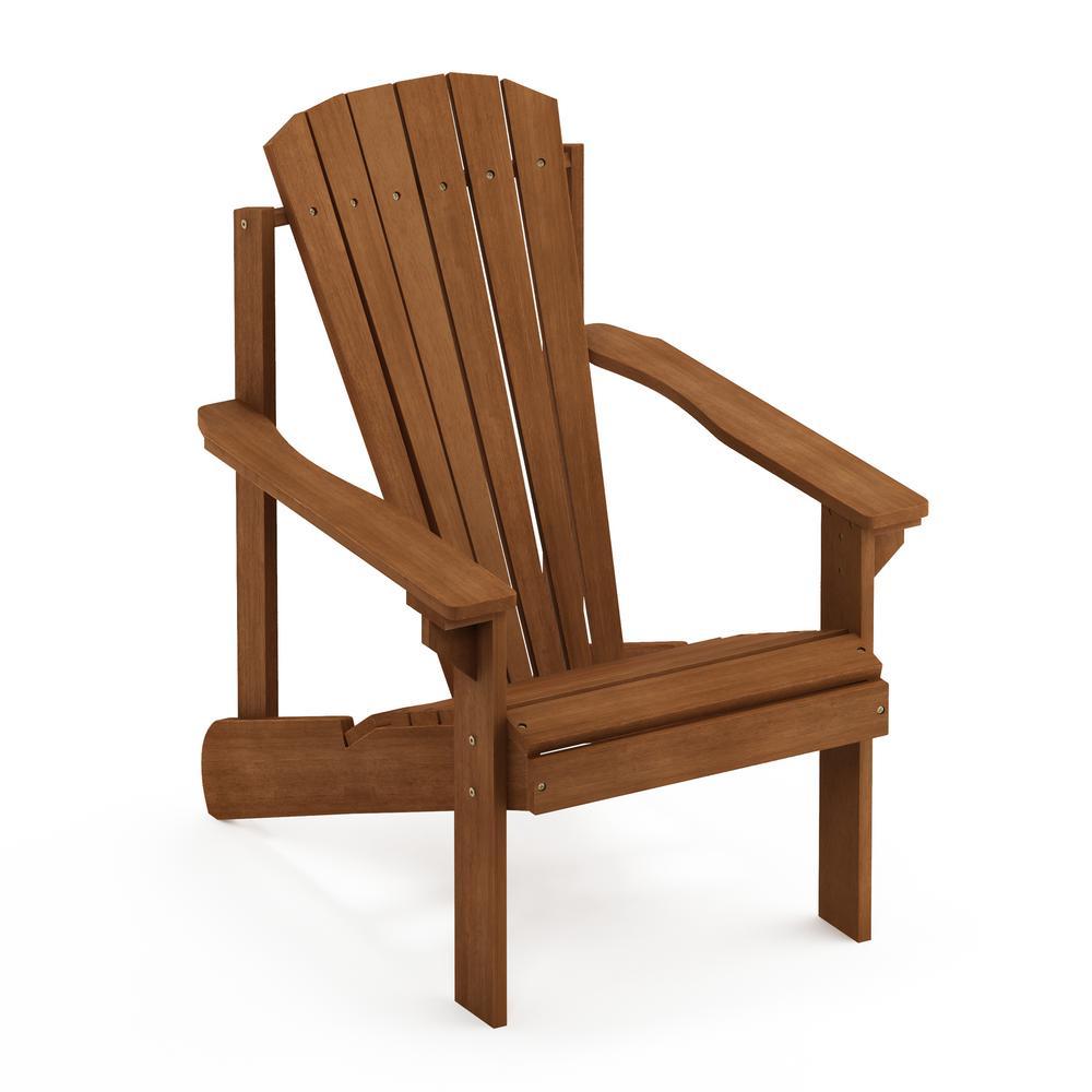 Furinno Tioman Small Hardwood Adirondack Patio Chair In Teak Oil