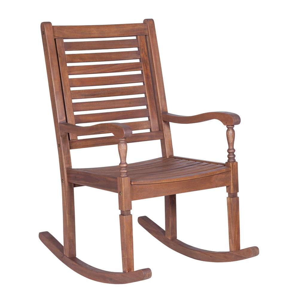 Incroyable Walker Edison Furniture Company Boardwalk Dark Brown Acacia Wood Outdoor  Rocking Chair
