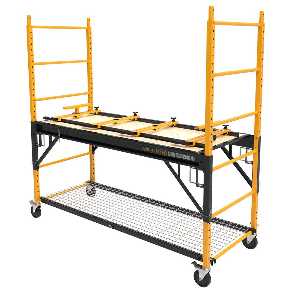 MetalTech MetalTech Scaffold Bench 6 ft. x. 2.5 ft. x 6.2 ft. Multi-Purpose 4-in-1 Scaffold 1100 lbs. Load Capacity