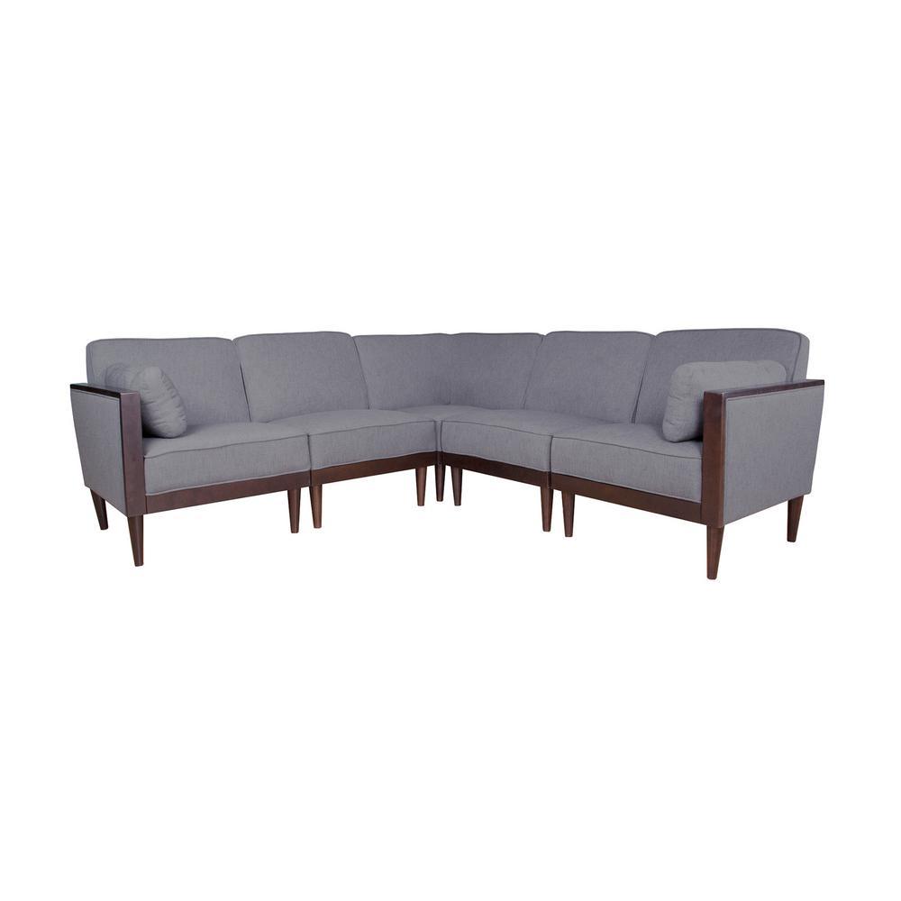 Pembroke Contemporary 5-Piece Dark Gray Fabric Sectional Sofa Set