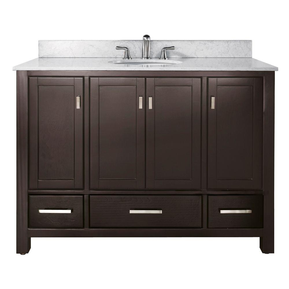 Avanity Modero 49 in. W x 22 in. D x 35 in. H Vanity in Espresso with Marble Vanity Top in Carrera White and White Basin