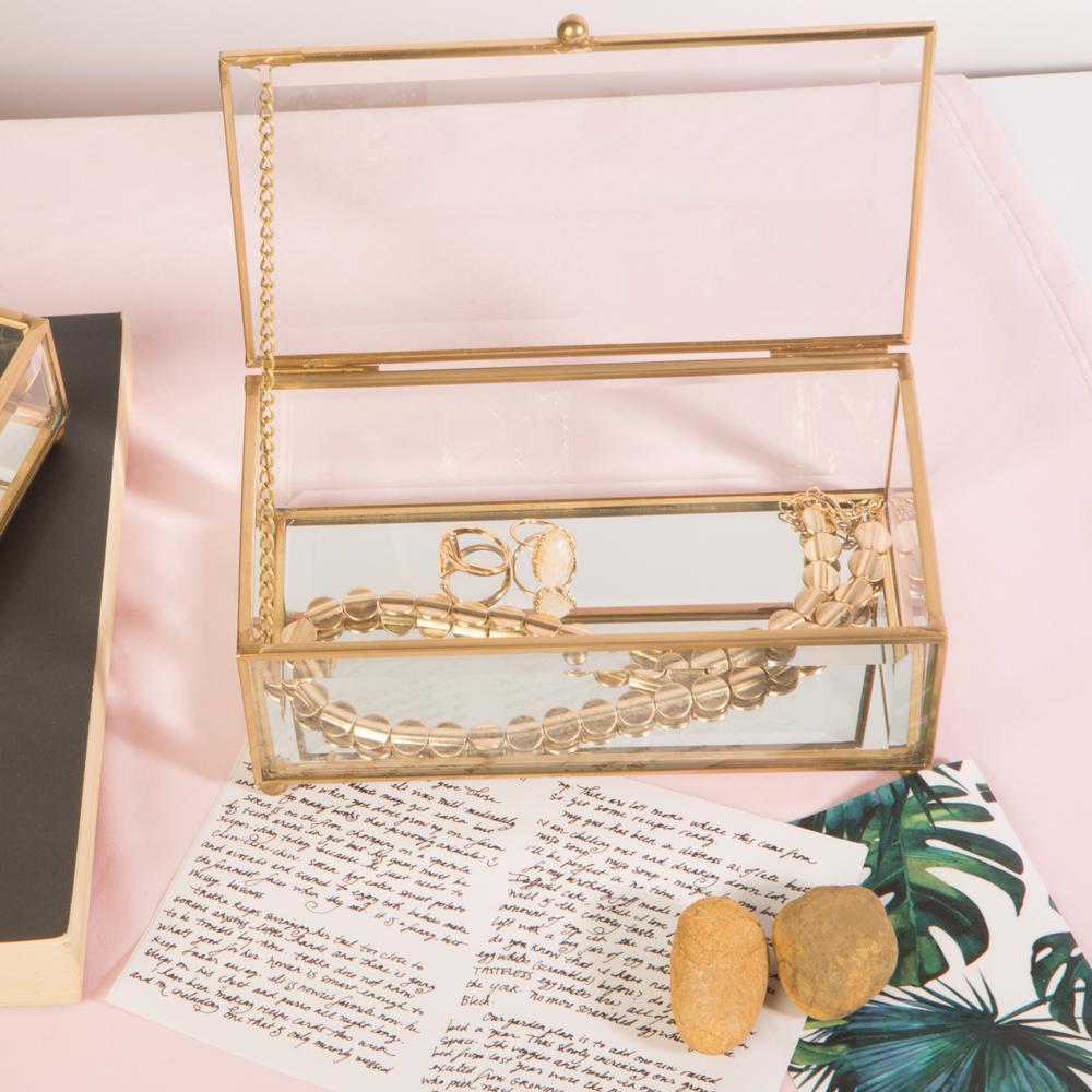 Vintage in Gold Glass Keepsake Box