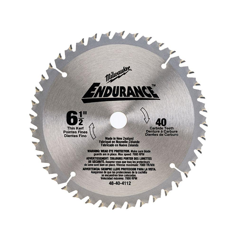 Milwaukee circular saw blades saw blades the home depot 6 12 in x 40 carbide tooth circular saw blade greentooth Images