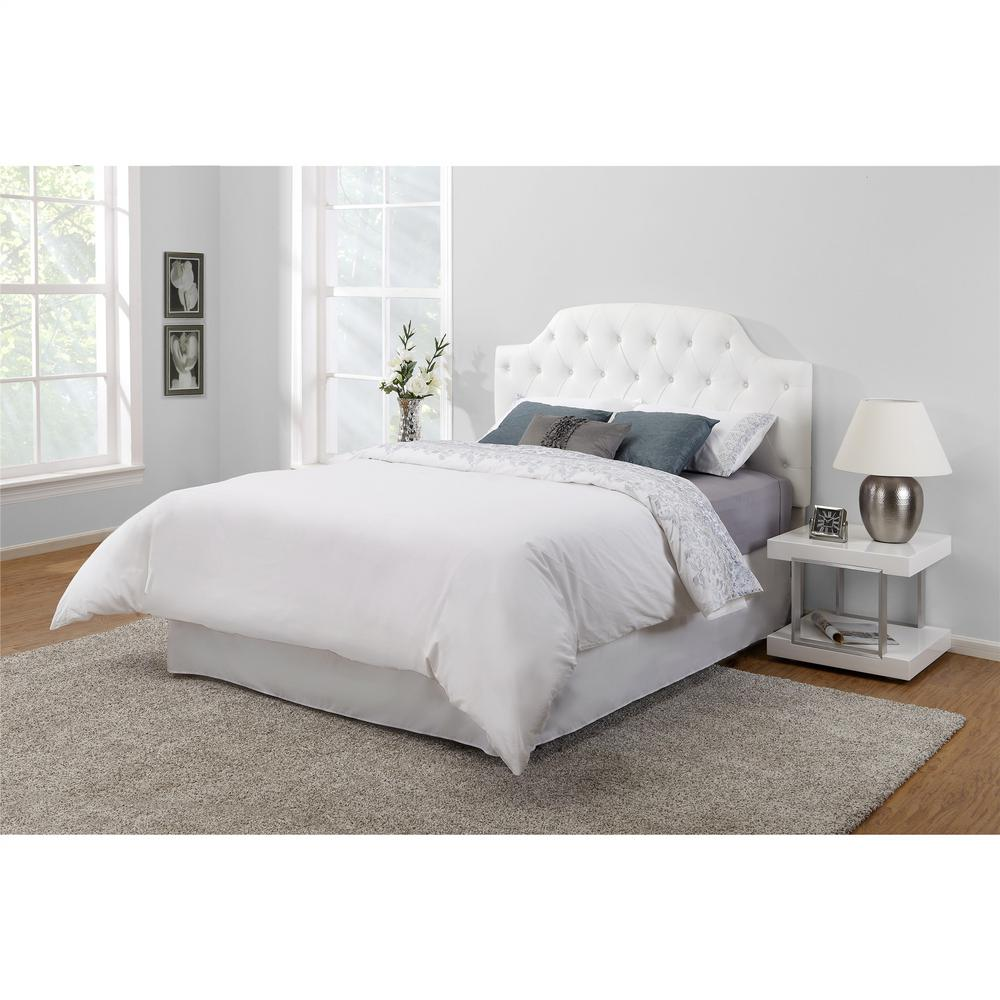 Dorel living lyric white queen full button tufted faux leather headboard