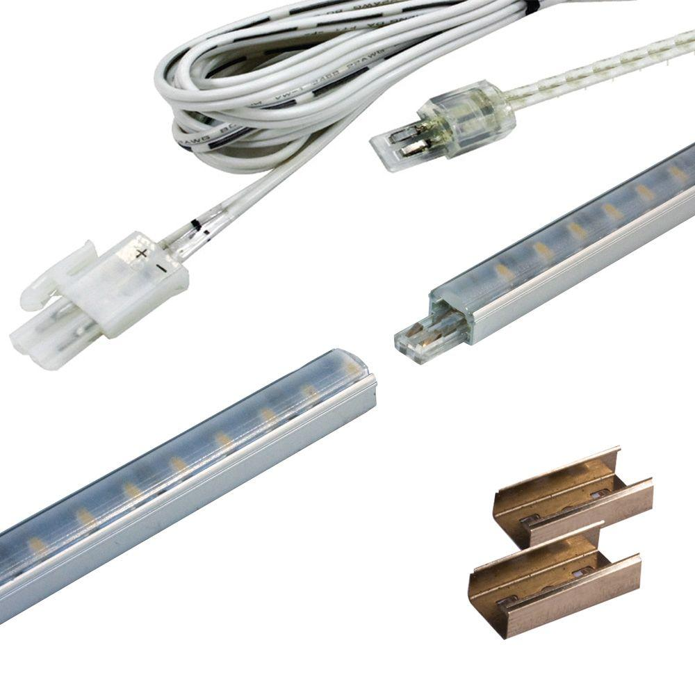 Home Decorators Collection 12 In. Long Fineline LED Stick Light 2.4 Watt 12  Volt DC In Matte Nickel L12STK   The Home Depot