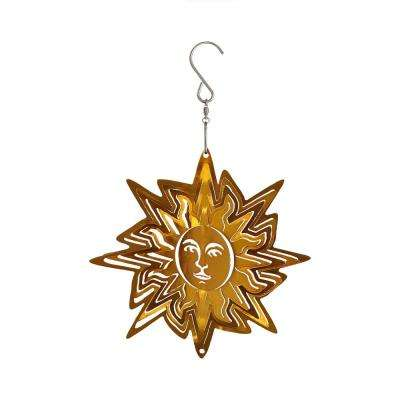 6 in. Gold Sun Whirligig Outdoor Wind Spinner with Hook