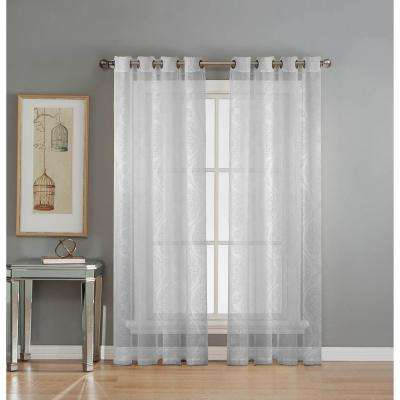 sheer diamante cotton blend burnout sheer 84 in l grommet curtain panel pair white - White Sheer Curtains