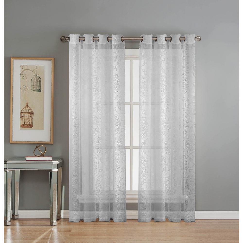 Window Elements Sheer Diamante Cotton Blend Burnout Sheer 84 in. L Grommet Curtain Panel Pair, White (Set of 2)
