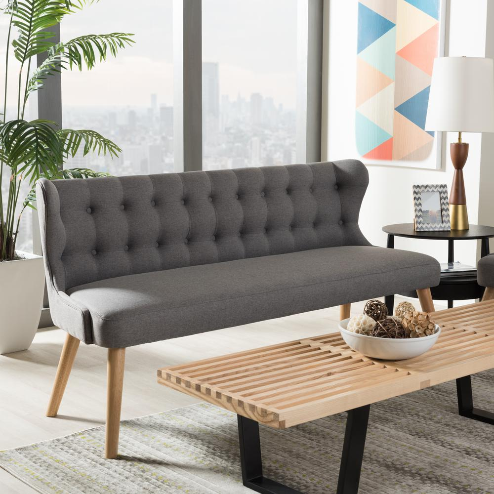 Melody Mid-Century Gray Fabric Upholstered Sofa