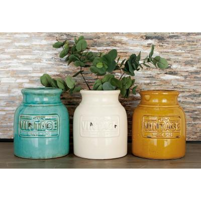 9 in. Ochre Brown, Cream White and Celadon Green Round Wide-Mouthed Terracotta Decorative Jars (Set of 3)