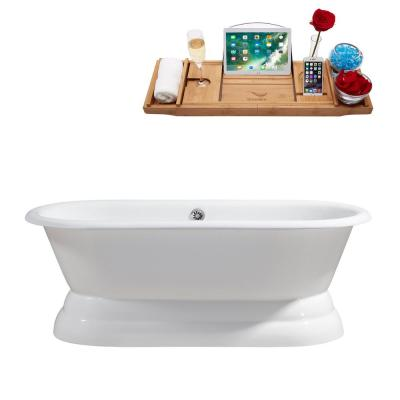 66 in. Cast Iron Flatbottom Non-Whirlpool Bathtub in Glossy White