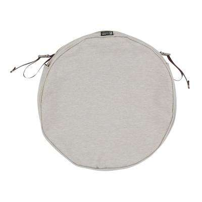 Montlake Fade Safe Heather Grey 15 in. Round Outdoor Seat Cushion Cover