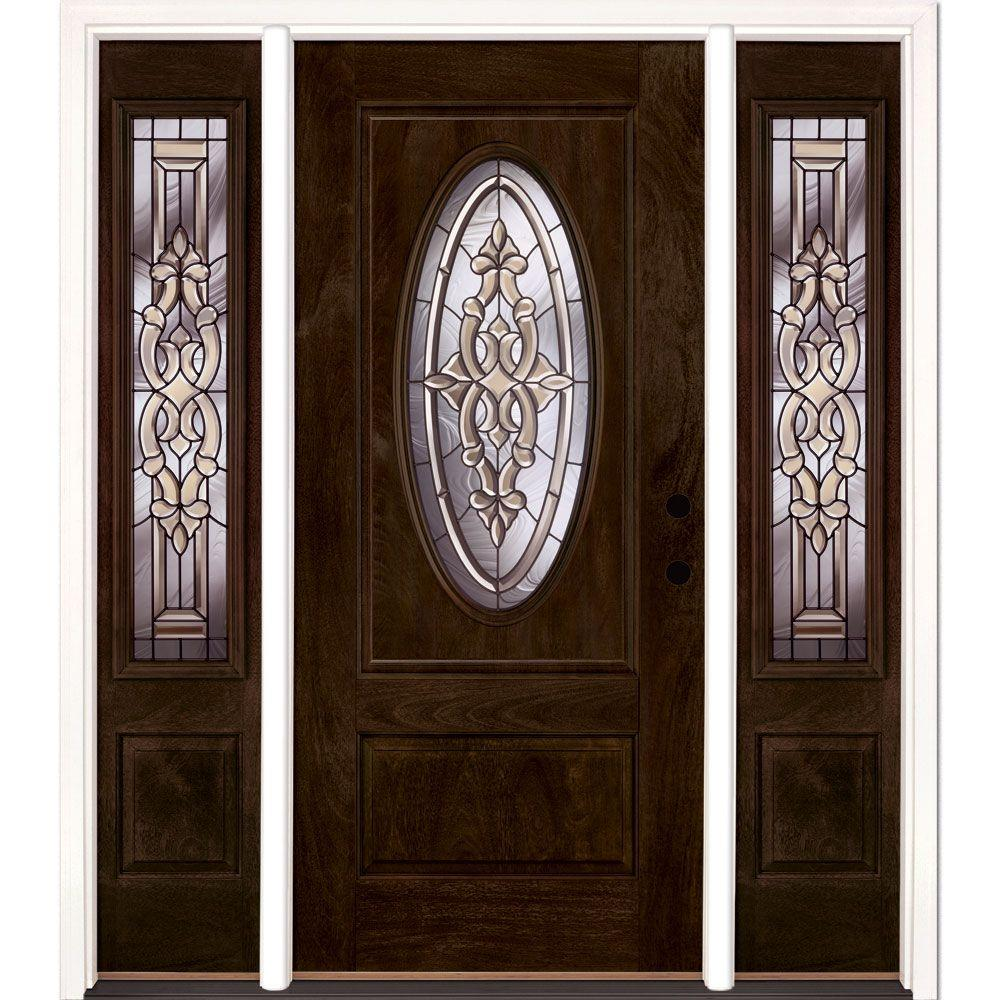 Feather River Doors 59.5 in.x81.625in.Silverdale Zinc 3/4 Oval Lt Stained Chestnut Mahogany Lt-Hd Fiberglass Prehung Front Door w/ Sidelites-712790-313 ... & Feather River Doors 59.5 in.x81.625in.Silverdale Zinc 3/4 Oval Lt ...
