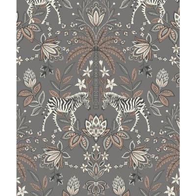 Zebra Paisley Ornamental Wallpaper Charcoal & Rose Gold Paper Strippable Roll (Covers 57 sq. ft.)