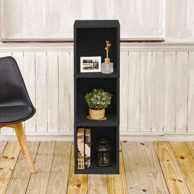 Trois 3-Shelf Narrow zBoard 11.2 x 13.4 x 44.8 Tool-Free Assembly Bookcase Storage Shelf in Black Wood Grain