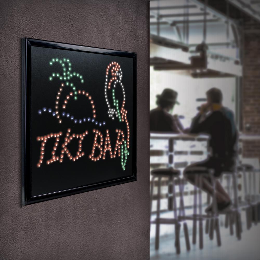 Tiki Bar Palm Tree Parrot Framed LED Sign