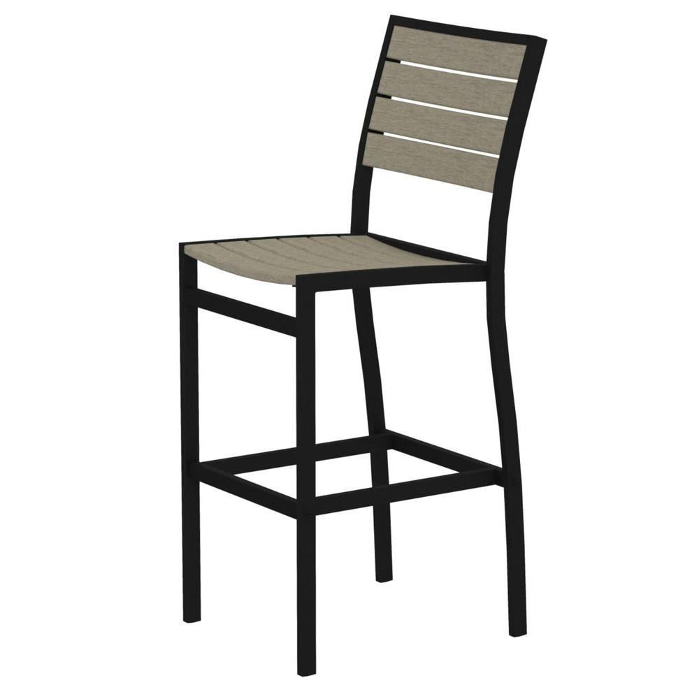 Polywood Euro Textured Black All Weather Aluminum Plastic Outdoor Bar Side Chair In Sand
