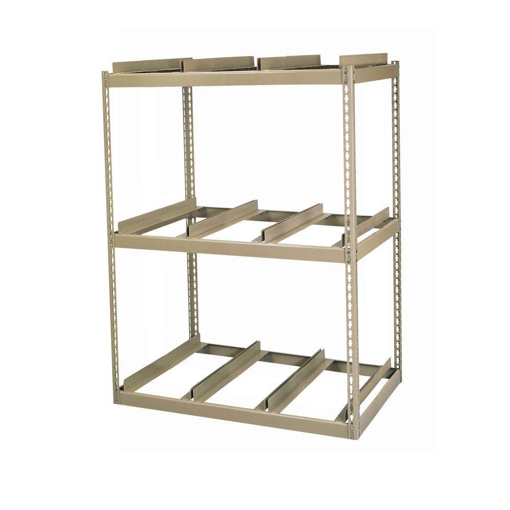 60 in. H x 42 in. W x 16 in. D 3-Shelf Steel Commercial Shelving Unit in Tan