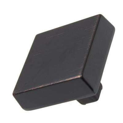 1-1/8 in. Oil Rubbed Bronze Modern Square Cabinet Knob (10-Pack)