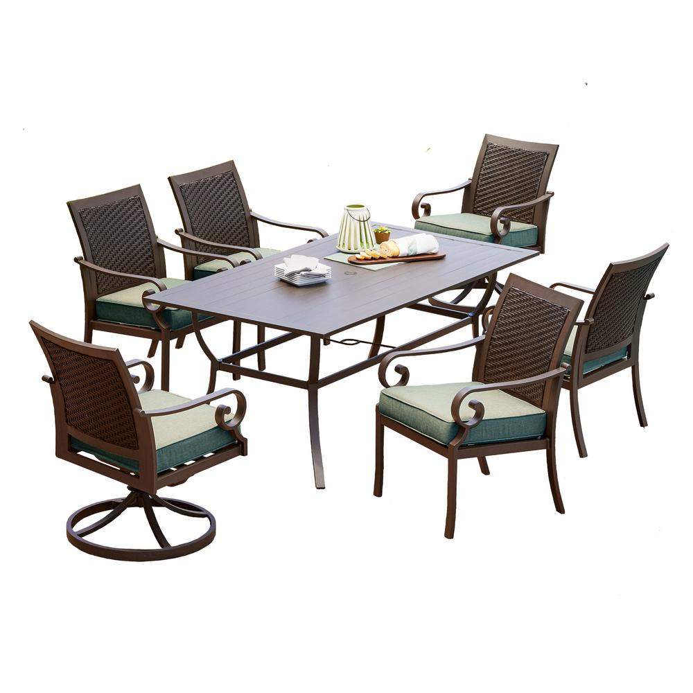 Milano 7-Piece Metal Outdoor Dining Set with Teal Cushions