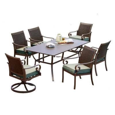 Milano 7-Piece Aluminum Outdoor Dining Set with Teal Cushions