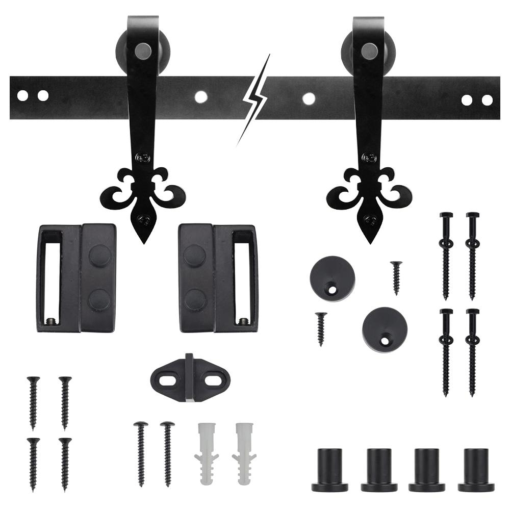 72 in. Dark Oil-Rubbed Bronze Fleur-De-Lis Sliding Barn Door Track and